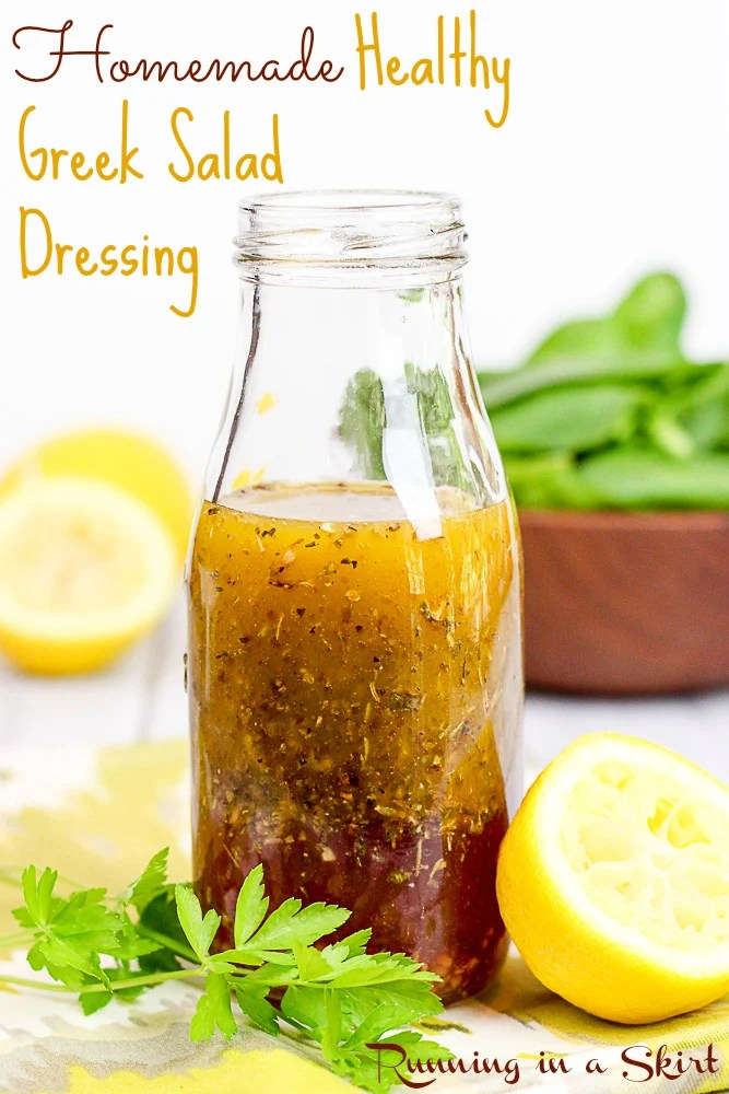 Healthy Greek Salad Dressing bottle pin / Running in a Skirt