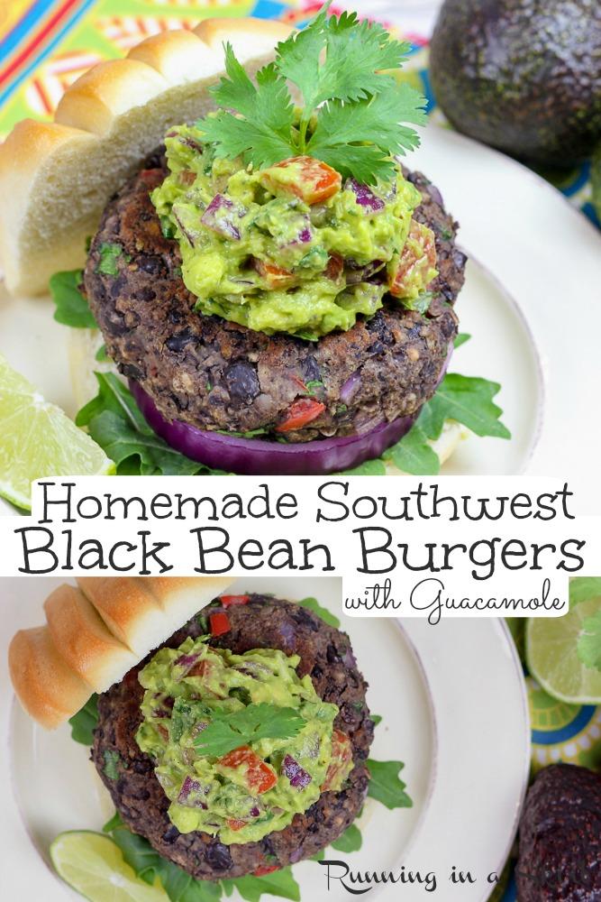 Homemade Southwest Black Bean Burgers with Gaucamole pinterest pin