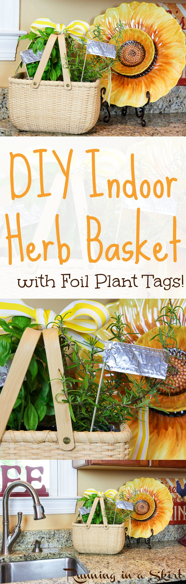 How to make an Indoor Herb Garden with foil plant tags