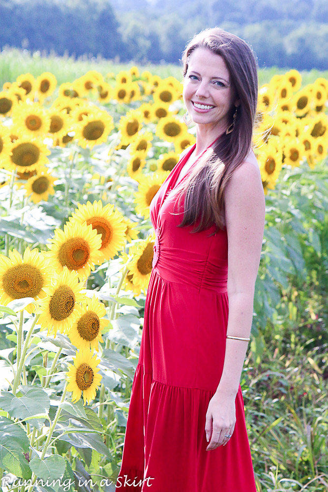 Red Dress in Sunflowers-134-6