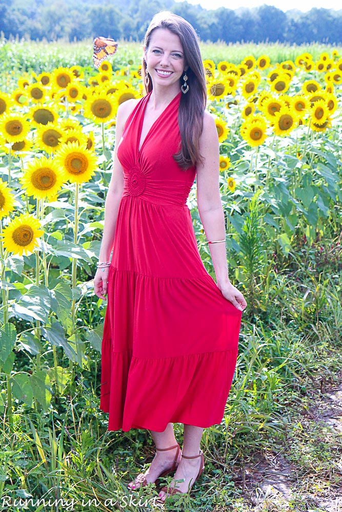 Red Dress in Sunflowers-70-4