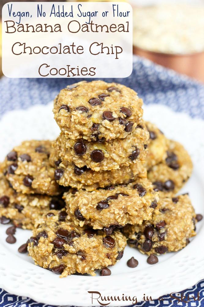 Healthy Banana Oatmeal Chocolate Chip Cookies