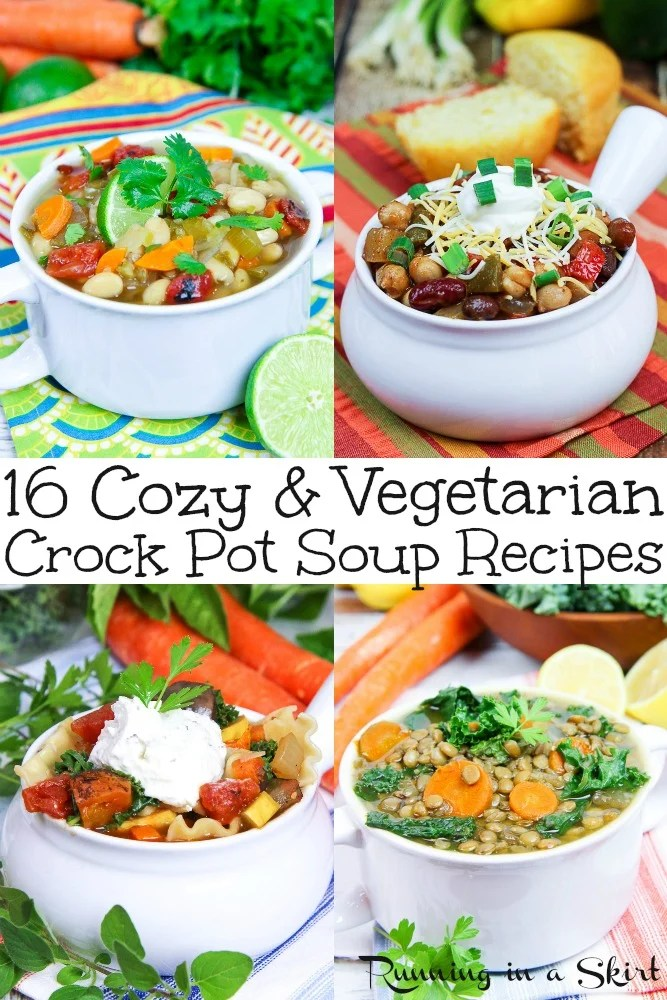 16 Cozy Vegetarian Crock Pot Soup recipes - ALL healthy, easy, simple and delicious recipe ideas for your slow cooker or crockpot. Includes LOTS of dairy free options for vegans. / Running in a Skirt #crockpot #slowcooker #instantpot #vegetarian #vegan via @juliewunder