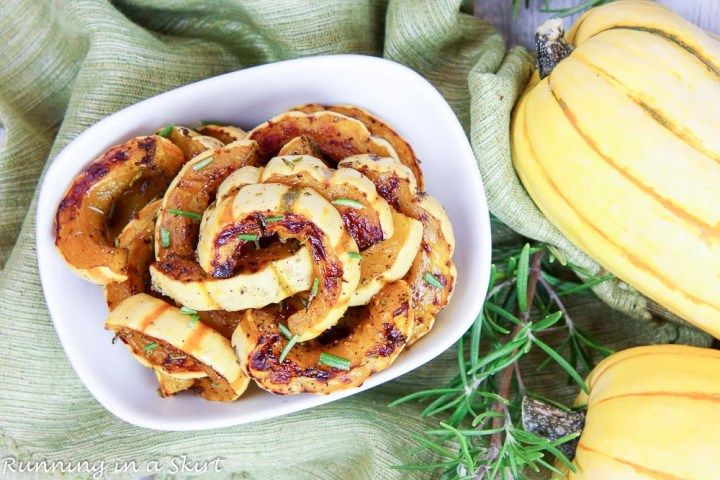 4 Ingredient Recipe for Cooking Delicata Squash - Maple Rosemary Delicata Squash / Running in a Skirt