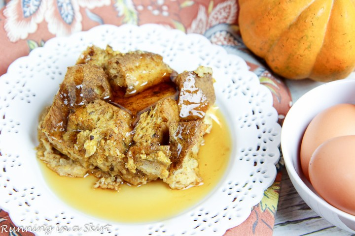 Healthy Crock Pot Pumpkin French Toast recipe/ Running in a Skirt