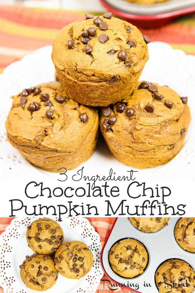 Satisfy your pumpkin cravings this fall with these 3 ingredients pumpkin chocolate chip muffins. All you need are simple pantry ingredients - pumpkin puree, cake mix, and chocolate chips - for the easiest pumpkin muffins you will ever make! #muffins #pumpkinrecipe via @juliewunder