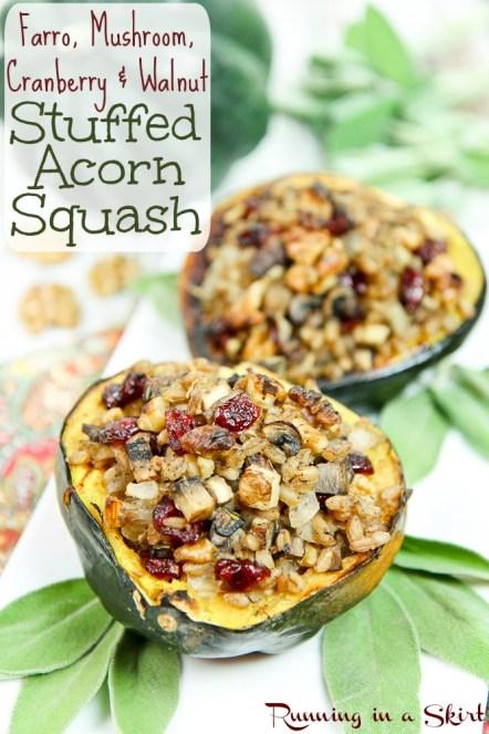 Vegan Vegetarian Stuffed Acorn Squash recipe / Running in a Skirt