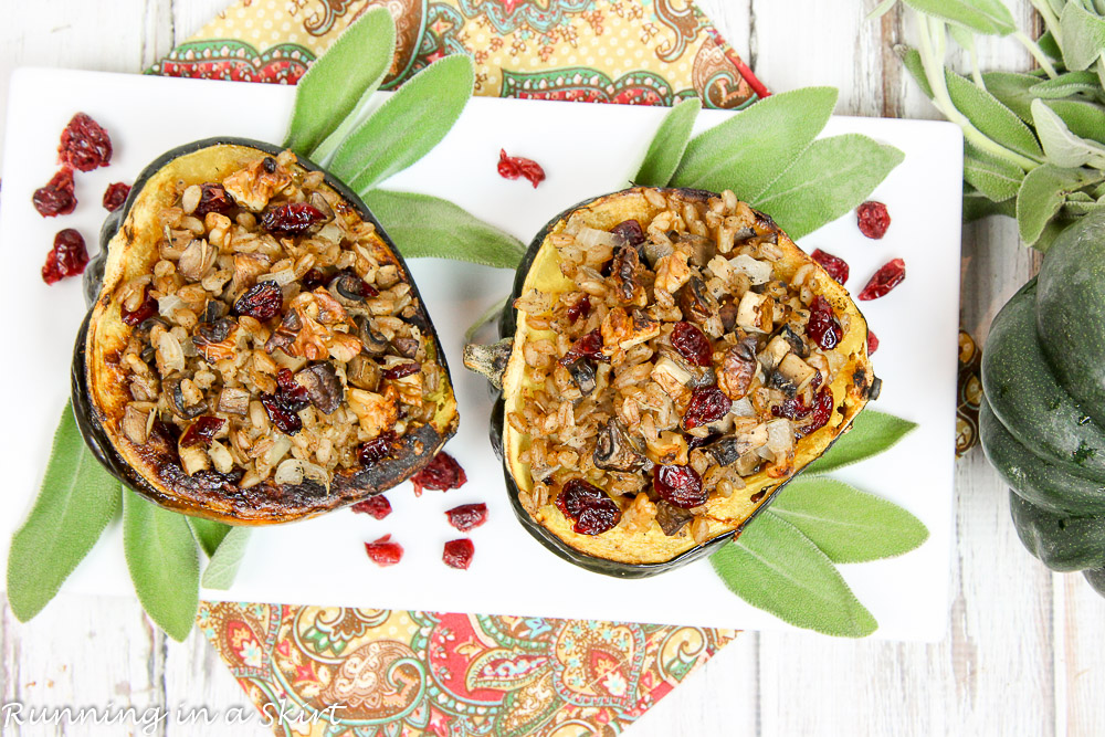 Vegan Vegetarian Stuffed Acorn Squash recipe / Running in a Skirt
