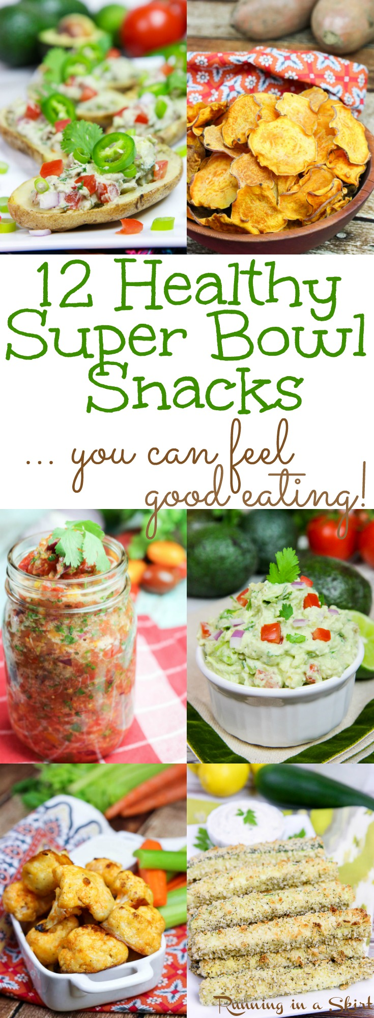 12 Vegetarian & Healthy Super Bowl Snacks. These are game day recipes and appetizer ideas you can actually feel good eating. The list is made up of clean eating vegetarian recipes with vegan - dairy free options. From appetizer, dips, sauces, treats and sweets- this list has all the food your need for your football party! via @juliewunder