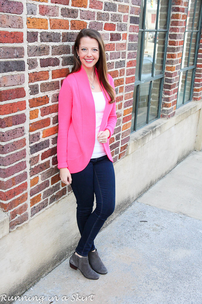 Pink Lilly Pulitzer Sweater with jeans and booties / Running in a Skirt