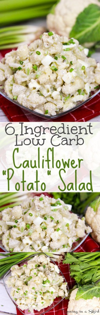 6 ingredient Low Carb Potato Salad made with Cauliflower / Running in a Skirt