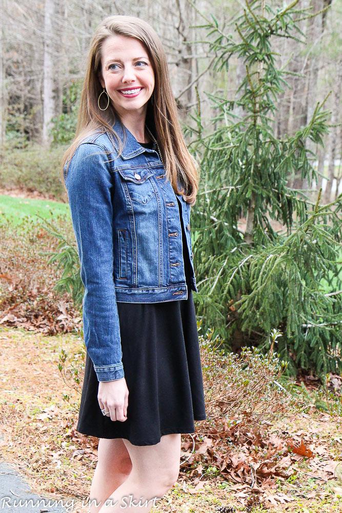 Fashion Friday Black Swing Dress Fitted Denim Jacket Running