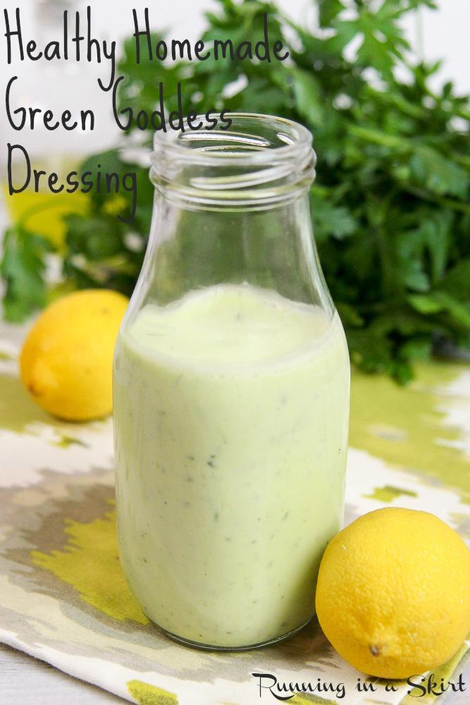Healthy Homemade Green Goddess Dressing recipe with greek yogurt / Running in a Skirt