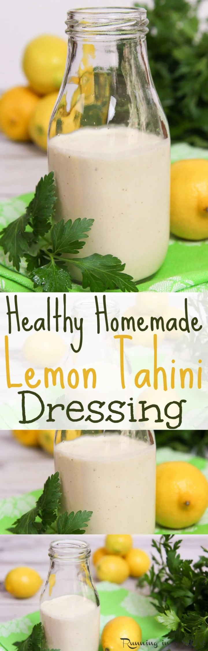 The Best 4 Ingredient Lemon Tahini Dressing recipe. This healthy, homemade, clean eating dressing is easy and vegan. It's great for salads, veggies, roasted vegetables, a buddha bowl or any vegetarian dish. Tastes amazing! / Running in a Skirt via @juliewunder