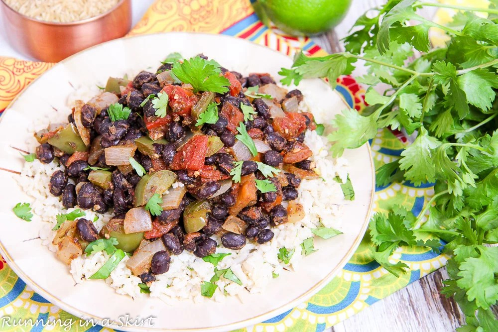 15 Minute Easy Black Beans and Rice | Running in a Skirt