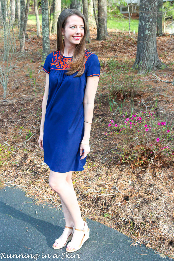Navy Embroidered Dress/ Running in a Skirt