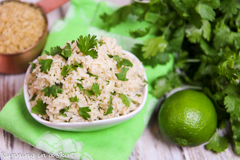 healthy cilantro lime brown rice recipe / Running in a Skirt