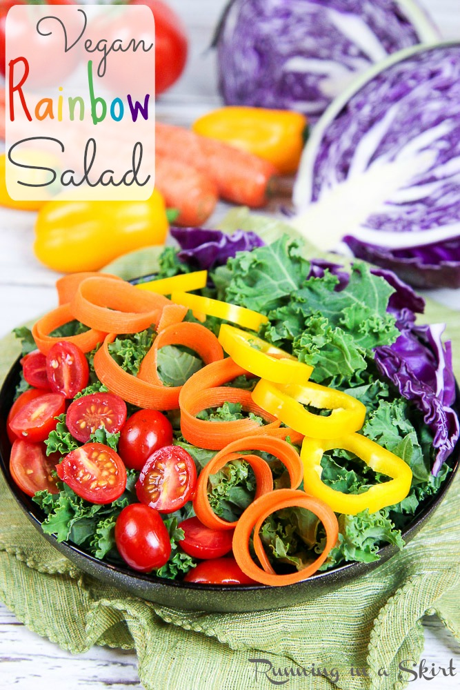 Healthy Vegan Rainbow Salad Recipe / Running in a Skirt