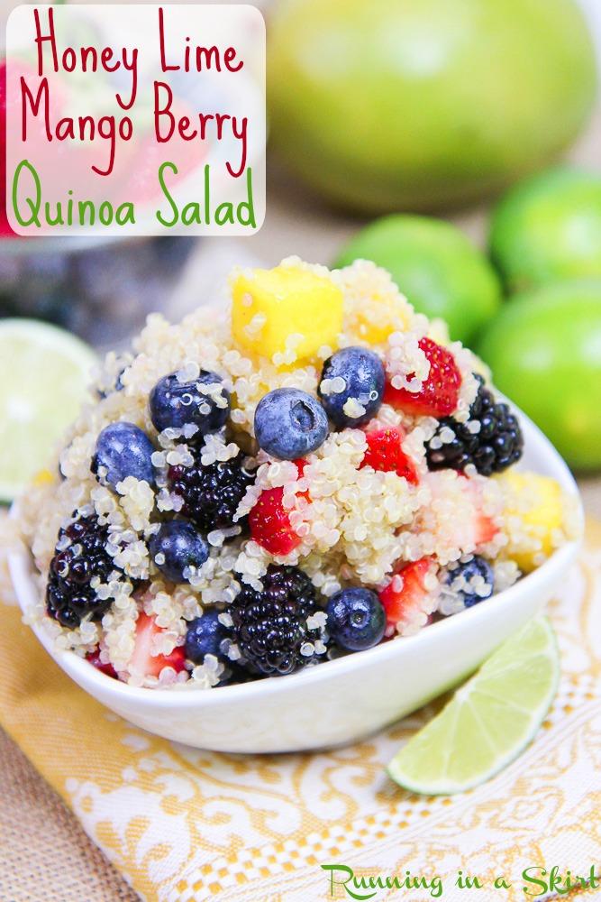 3 Easy Quinoa Salad Recipes- all less than 6 ingredients! Heirloom Tomato Caprese Quinoa Salad, Honey Lime Mango Berry Quinoa Salad and Mexican Black Bean Quinoa Salad / Running in a Skirt