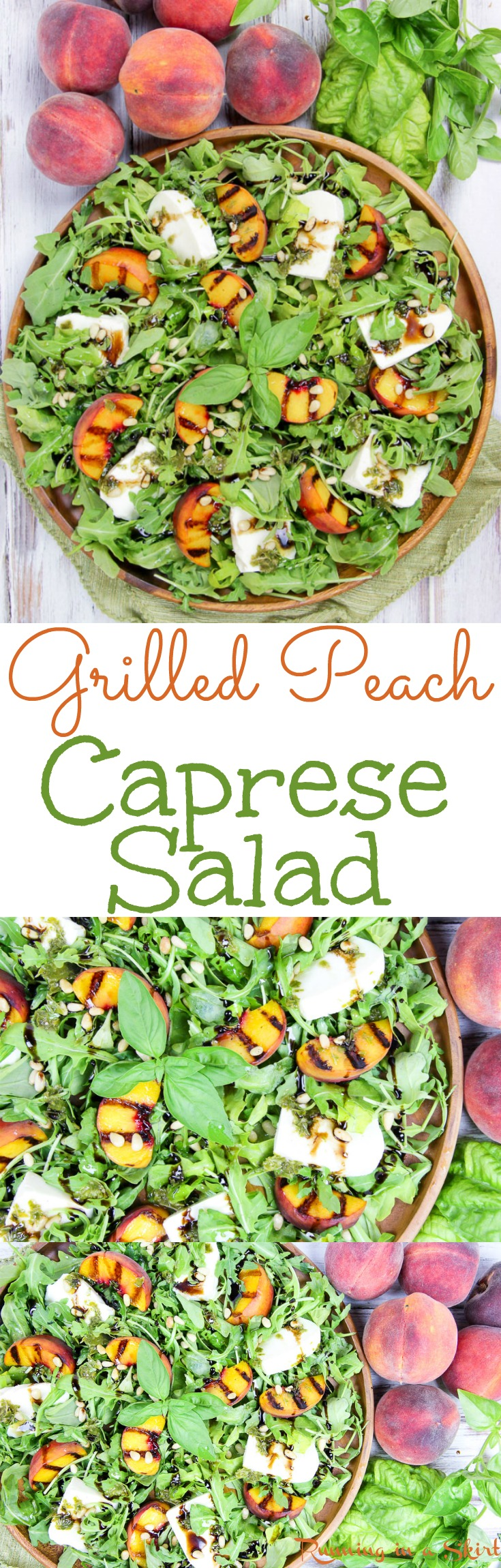 Caprese Grilled Peach Salad recipe. The best summer salad with peaches, arugula, fresh mozzarella cheese, pine nuts, homemade basil dressing and a balsamic glaze. So delicious! / Running in a Skirt via @juliewunder