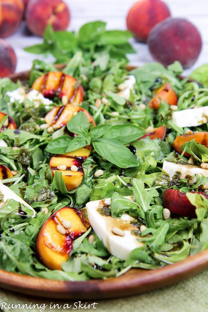 Caprese Grilled Peach Salad recipe/ Running in a Skirt