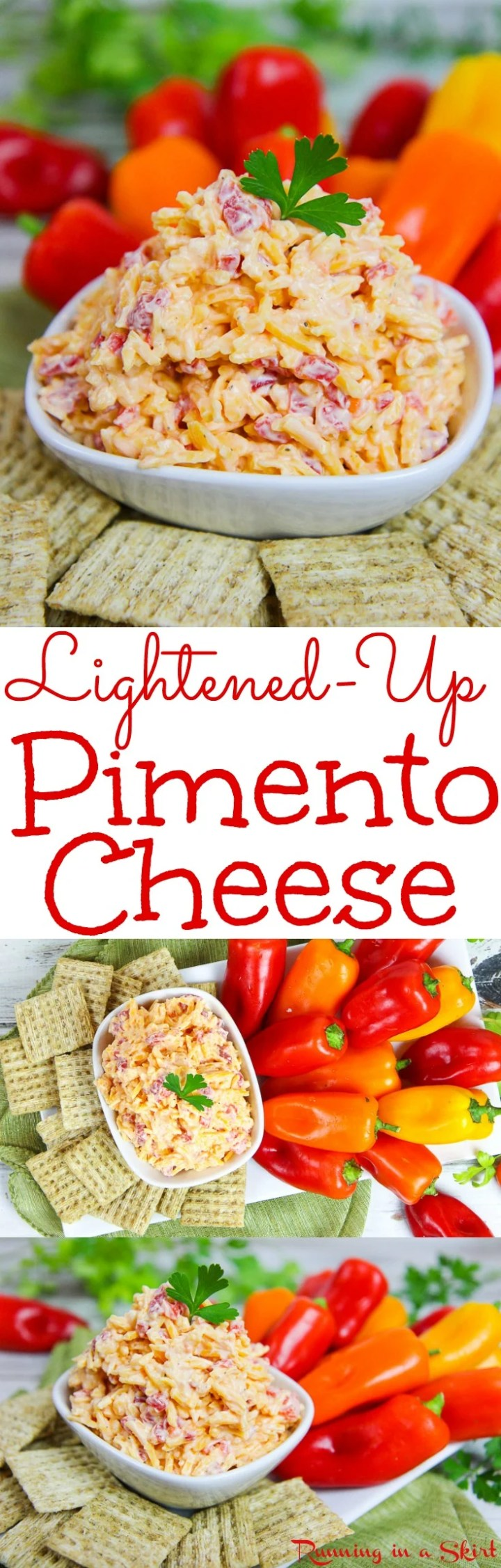 The Best Lightened-Up Homemade Southern Pimento Cheese recipe. A healthier, easy version of this spread or dip. Serve in a sandwich, on crackers or at a party! Uses greek yogurt and includes a no mayo version. / Running in a Skirt via @juliewunder