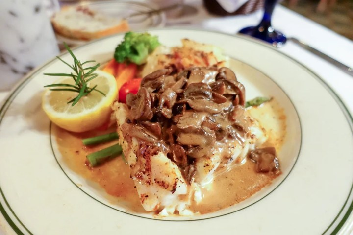 Best Restaurants in Hilton Head? Charlies featuring plate with Grouper with mushroom sauce.