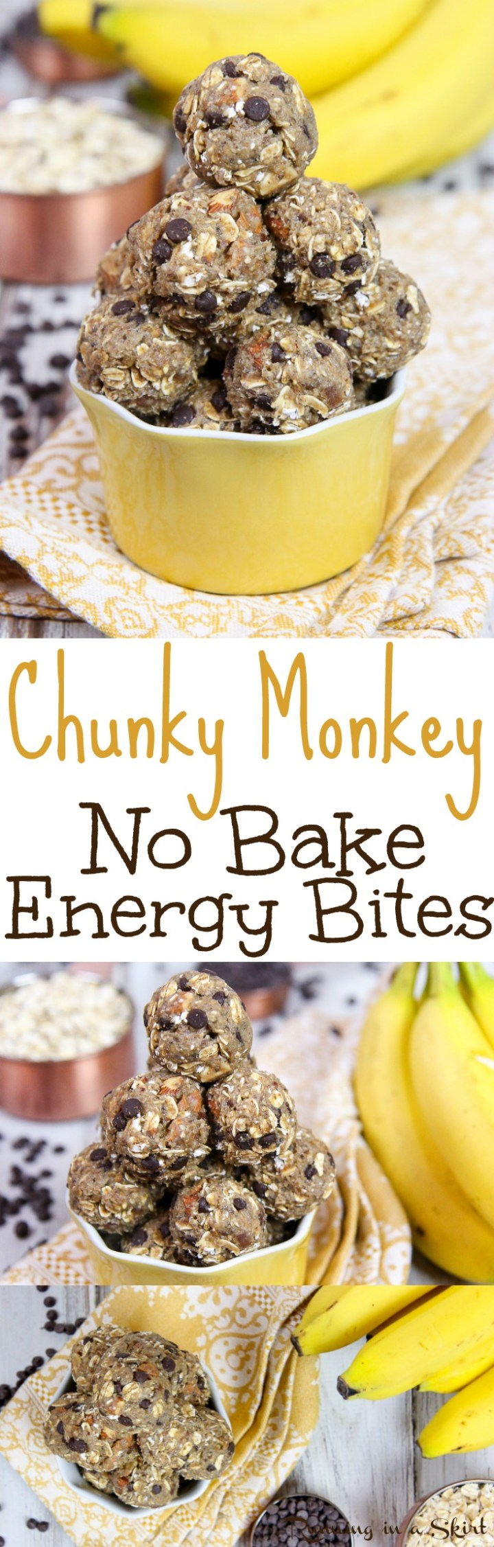 Chunky Monkey Healthy No Bake Energy Bites recipe. Easy, clean eating and perfect for quick snacks  Uses banana, dates, chocolate, almonds and without peanut butter. Vegetarian, Vegan & Gluten Free friendly / Running in a Skirt via @juliewunder