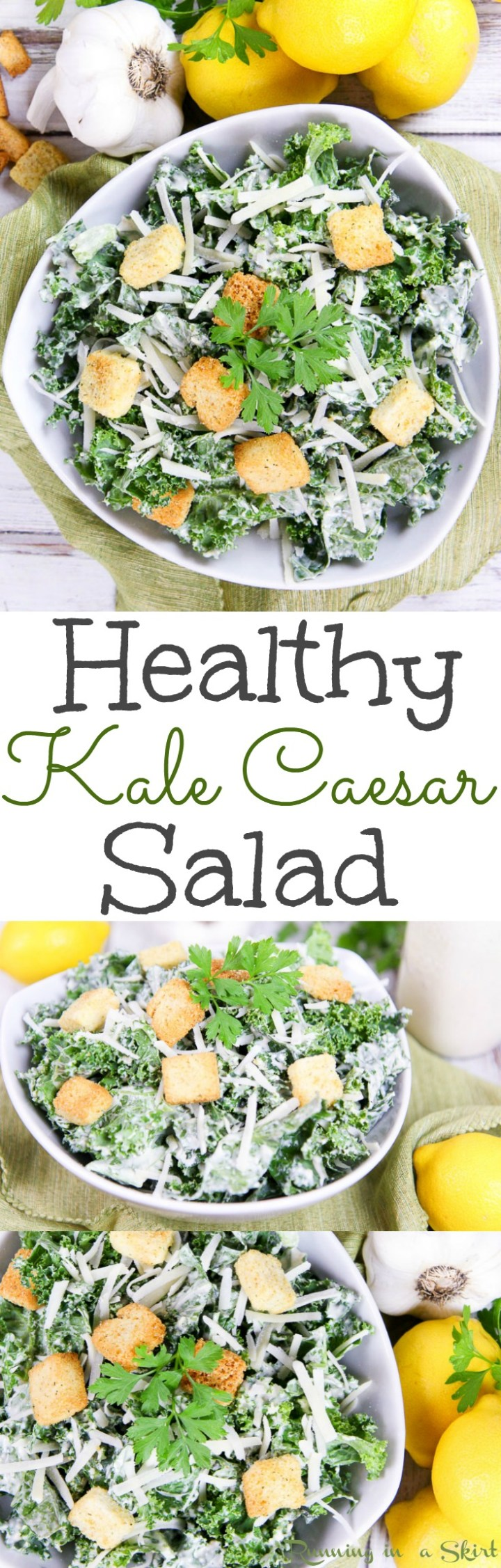 The Best Healthy Caesar Salad recipe with kale and homemade greek yogurt caesar dressing! A clean eating, easy idea for lunches, meals or dinners. Topped with parmesan and whole wheat croutons! / Running in a Skirt via @juliewunder