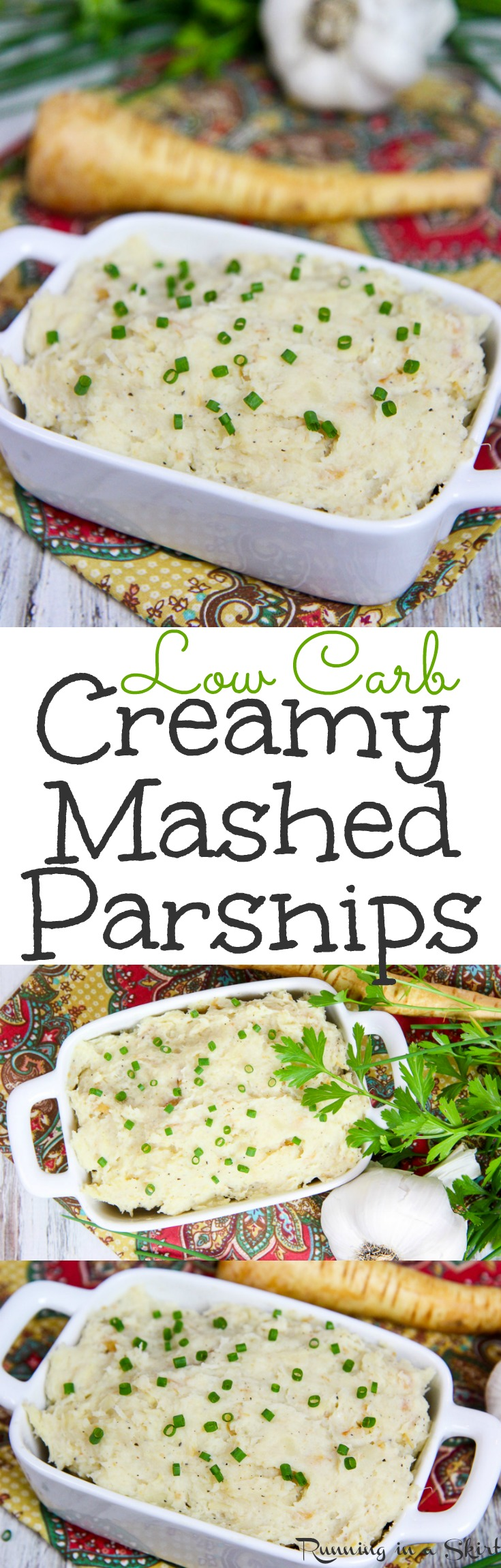4 Ingredient Low Carb Healthy Mashed Parsnips recipe. A creamy alternative to mashed potatoes for dinners or Thanksgiving. A great use of veggies! Vegetarian & Gluten Free / Running in a Skirt via @juliewunder