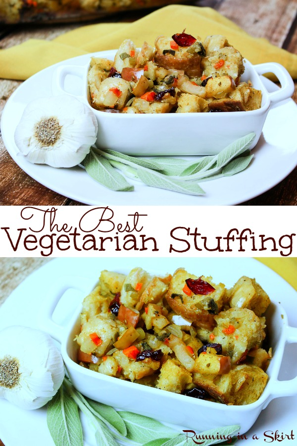 The Best Vegetarian Stuffing recipe for Thanksgiving or Christmas! A tried and true family favorite. Packed with vegetables, dried cranberries, bread and savory spices this meatless stuffing is perfection for the holidays. / Running in a Skirt via @juliewunder