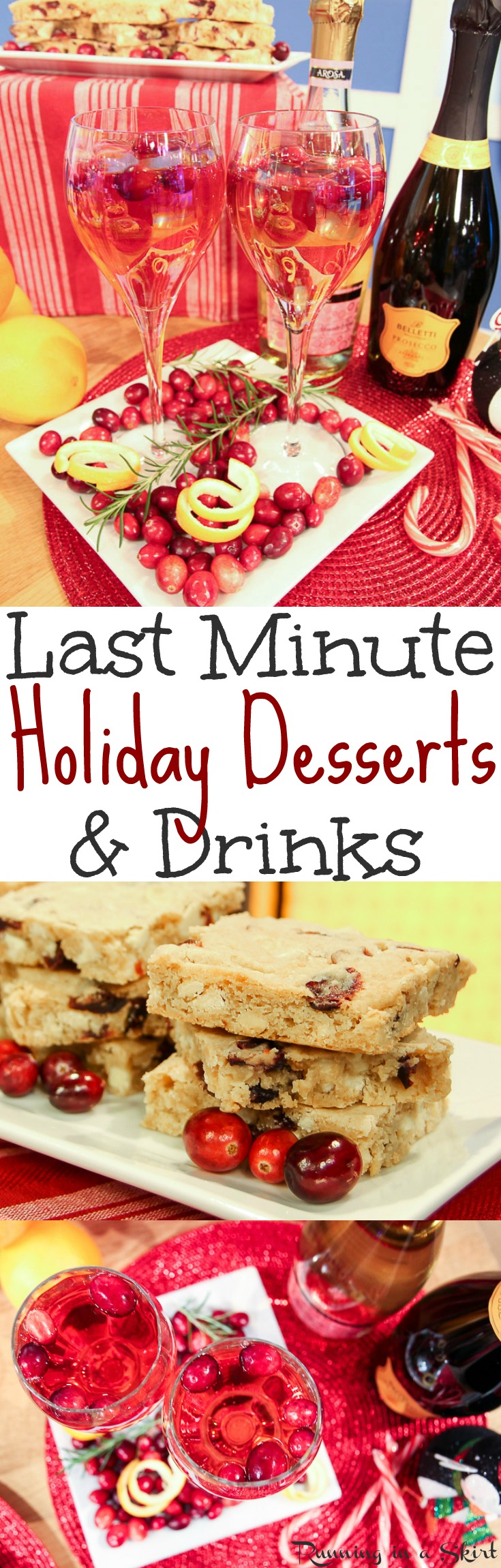 Last Minute Christmas Desserts & Drinks recipes for the holidays.  Budget friendly, fast, simple and easy ideas from ALDI.  These holiday desserts are great for a party or for a crowd.  Includes an easy recipe for White Chocolate Cranberry Blondies and the perfect holiday drink for adults. / Running in a Skirt #ALDIlove @aldiusa via @juliewunder