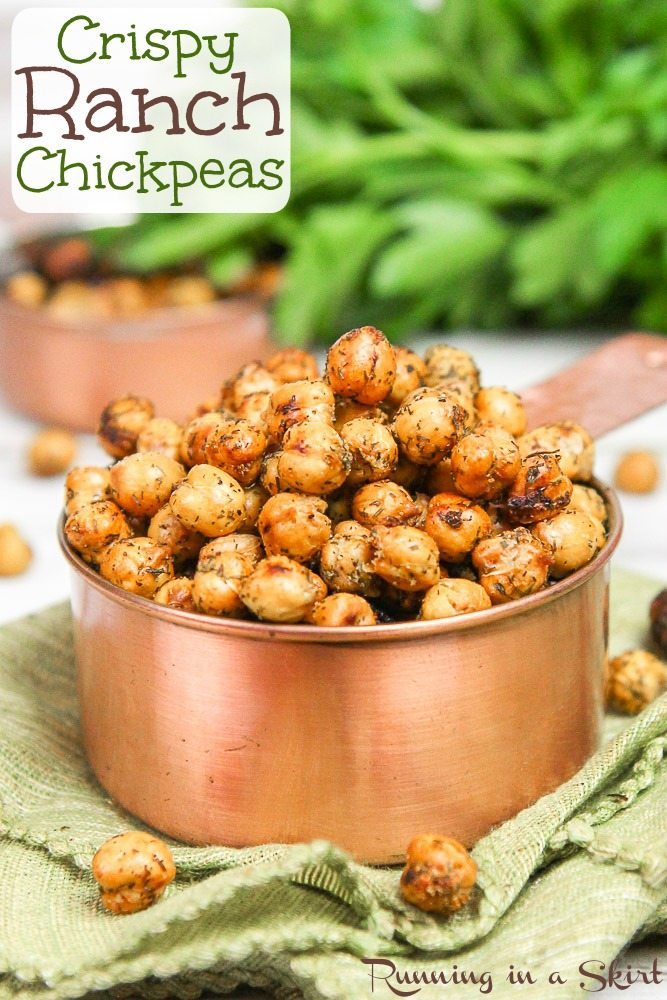 Crispy Healthy Roasted Ranch Chickpeas recipe.  The perfect crunchy easy, protein packed healthy snack or use as a salad topper.  Friendly for vegans, clean eating and gluten free. / Running in a Skirt   via @juliewunder