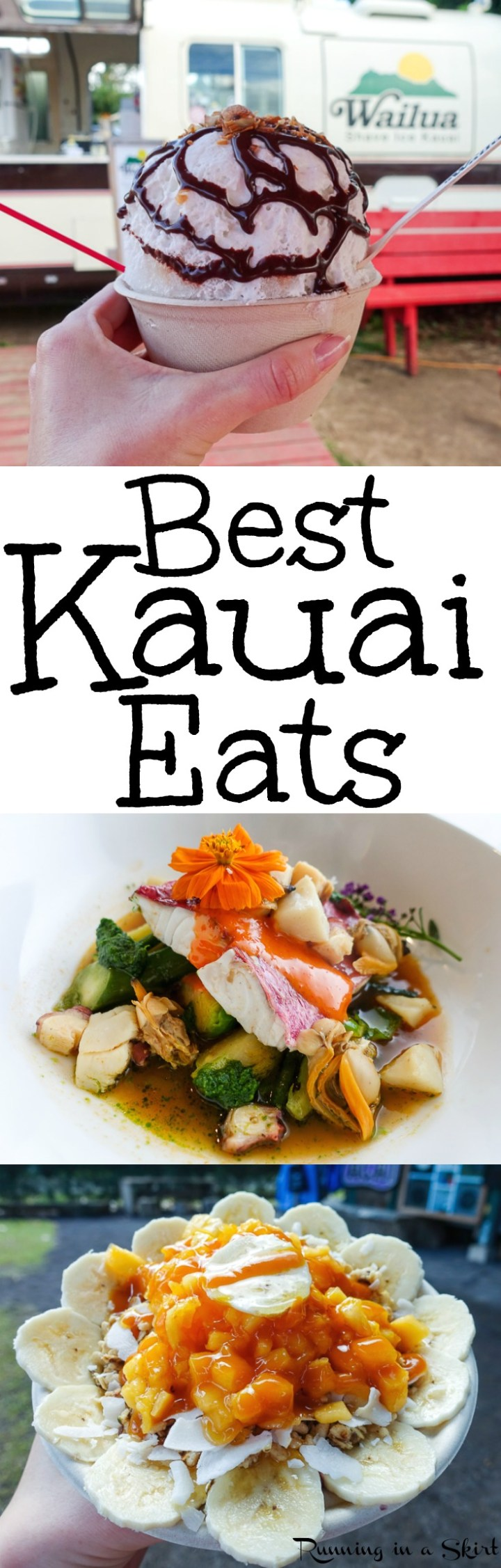 Best Kauai Eats - From restaurants, farmers' markets, food trucks, shave ice stands and awesome fruit (including Sugarloaf Pineapple & passion fruit)... these are the meals you must eat when you travel to Kauai, Hawaii. Includes breakfast, lunch and dinner ideas in Poipu and the North Shore. Whether you want cheap eats or fun elegant dinner, there are awesome suggestions. Great for foodies or honeymoons. / Running in a Skirt via @juliewunder