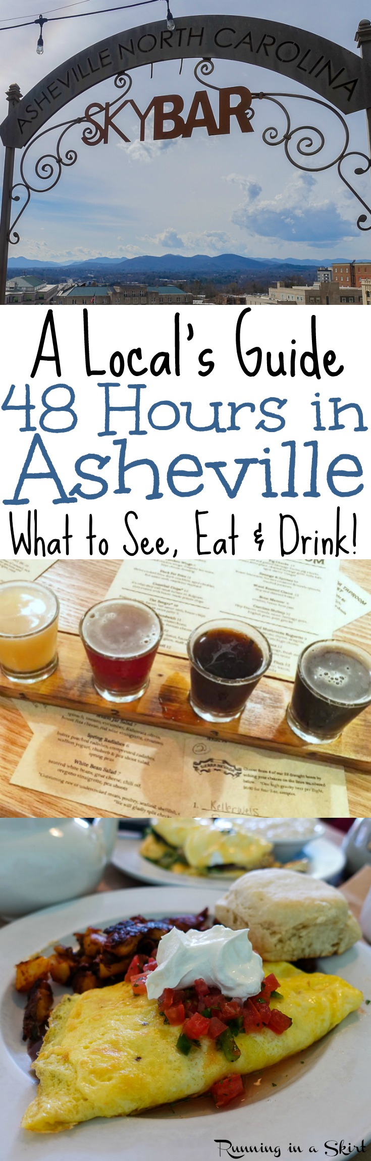 Things to Do In 48 Hours in Asheville, North Carolina - a Local's Travel Guide and complete itinerary including fun downtown restaurants, free hiking, breweries, shopping, coffee and nightlife. Includes what to do to get great eats, visit the Blue Ridge Parkway, Biscuit Head and Tupelo Honey Cafe! / Running in a Skirt via @juliewunder