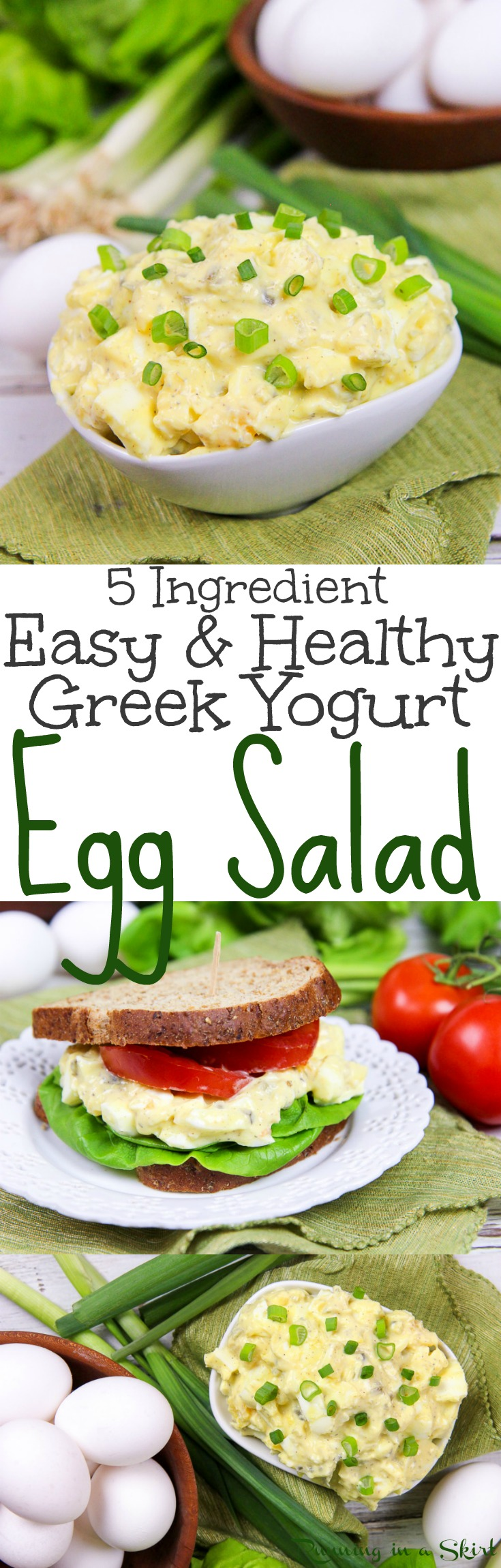 5 Ingredient Healthy (No Mayo!) Greek Yogurt Egg Salad recipe - An easy and simple vegetarian meal idea. Great for a sandwich, lunches, dinners and fun meals. Uses hard boiled eggs!  Low carb, vegetarian, gluten free and clean eating / Running in a Skirt via @juliewunder