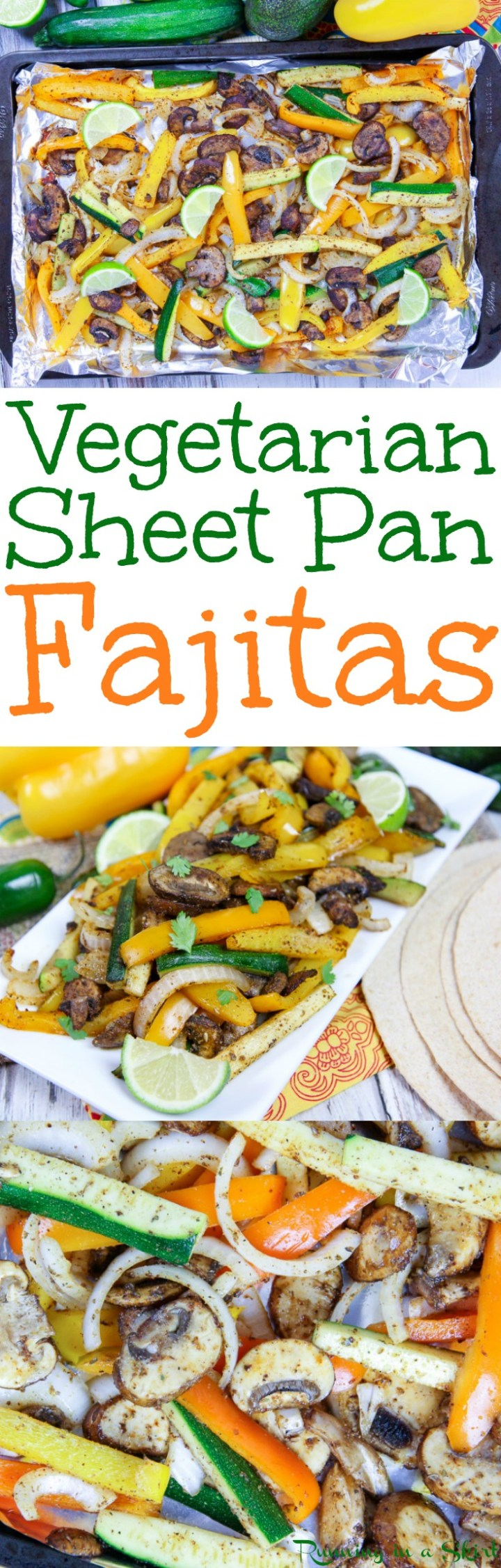The Best Vegetarian Sheet Pan Fajitas recipe - 20 minute, easy and healthy veggie fajitas topped with homemade taco seasoning. Uses portobello mushrooms, peppers, onions and zucchini. Vegan, clean eating, gluten free, paleo and Whole 30 friendly. / Running in a Skirt via @juliewunder