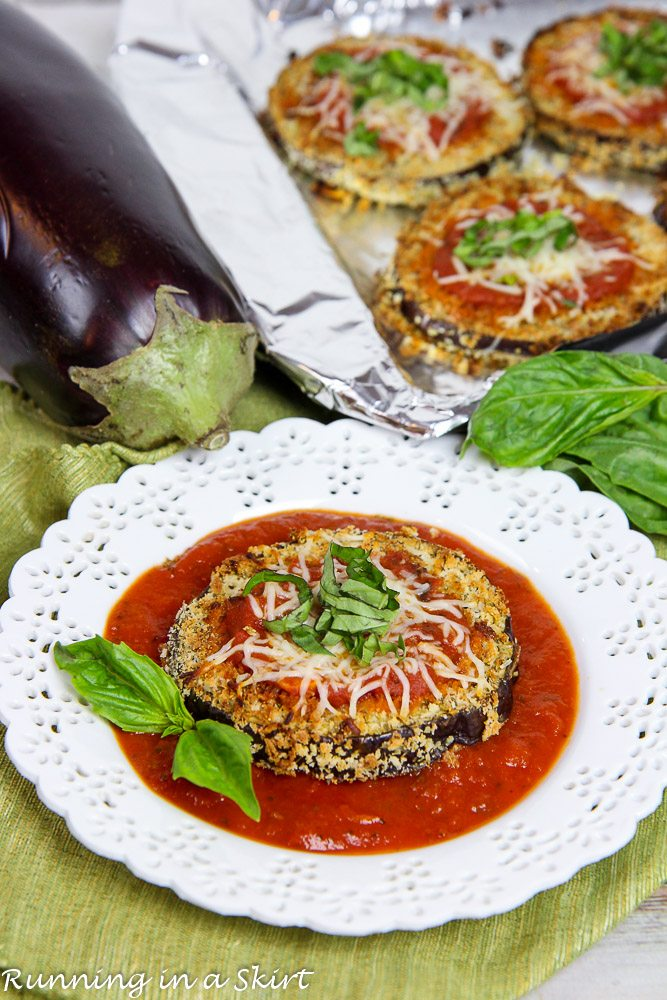 Baked Eggplant Slices with Tomato Sauce / Running in a Skirt