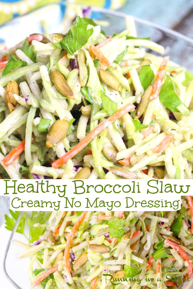 Healthy Broccoli Slaw Recipes - Made with greek yogurt dressing and sunflower or pumpkin seeds. The perfect summer salad! Clean eating and packed with veggies. Light dressing without sugar. Perfect for lunches, potlucks or dinners. Vegetarian, Low Carb & Gluten Free / Running in a Skirt via @juliewunder