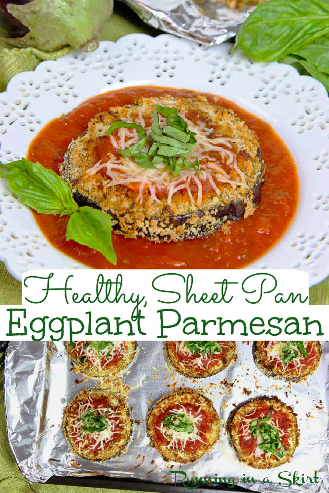 Healthy Sheet Pan Baked Eggplant Parmesan Slices - the best easy twist on Eggplant Parm! This oven made, no fry, simple dinner idea even gets crispy in the oven! Skinny, Vegetarian & lower carb (no pasta!) / Running in a Skirt via @juliewunder