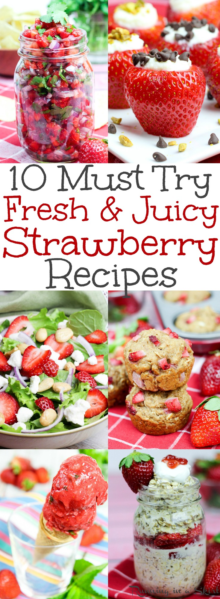 The Best Fresh & Juicy Strawberry Recipe - easy breakfast, dessert, snack, smoothie and salad ideas using berries!  These simple, clean eating homemade recipes will have you longing for summer.  Most recipes have no sugar.  Includes paleo, low carb, whole 30, gluten free, vegan & vegetarian options. / Running in a Skirt via @juliewunder
