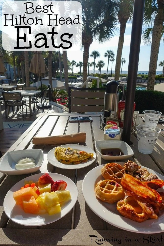 Best Hilton Head Restaurants pinterest pin. Plates on a table with breakfast.
