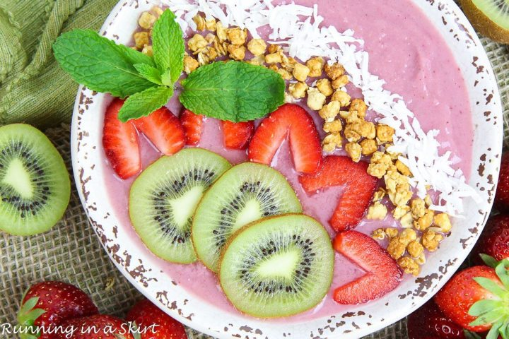 Kiwi Strawberry Smoothie Bowl Recipe in a bowl with toppings.