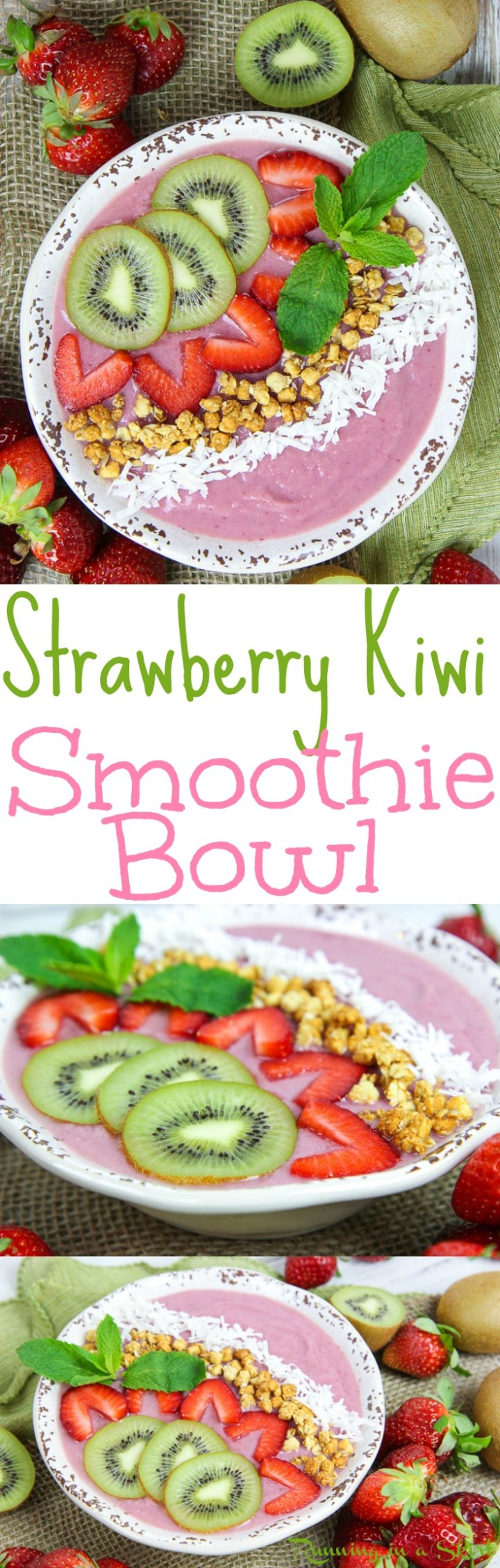 Healthy Kiwi Strawberry Smoothie Bowl recipe - a high protein vegan breakfast and the perfect simple and fun way to start your mornings or for snacks. Has fresh fruit and frozen bananas.... great for spring or summer. Gluten free, raw vegan & vegetarian. / Running in a Skirt via @juliewunder