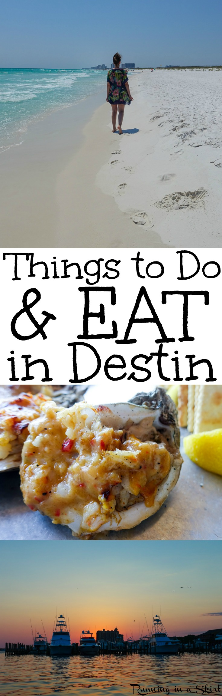 Things to Do in Destin Florida - the best beach vacation tips and places to enjoy the water.  Also includes must do restaurant and food ideas and activities.  Gorgeous pictures and sunset photos.  / Running in a Skirt #Destin #Florida #Travel #Beach #Vacation via @juliewunder