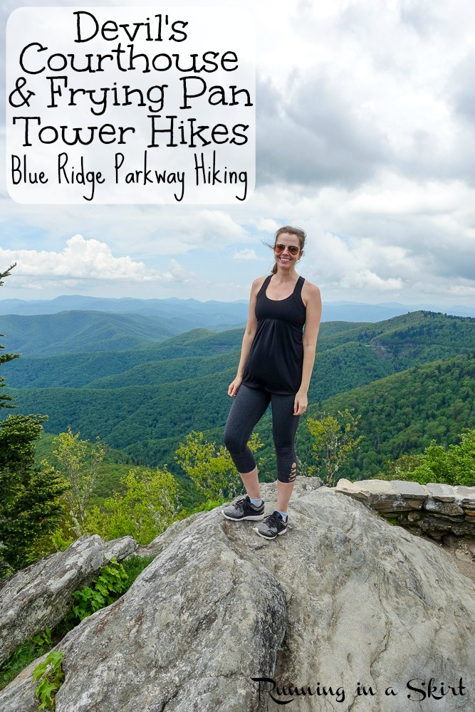 These 2 short Asheville Hikes are along the Blue Ridge Parkway near Asheville, NC with epic views - Devil's Courthouse Hike & Frying Pan Tower Hike!  Perfect for day trips.  Enjoy the NC Mountains from these beautiful spots for Blue Ridge Parkway hiking in North Carolina, USA.  / Running in a Skirt #hiking #asheville #hike #outdoors #blueridgeparkway #northcarolina #travel via @juliewunder