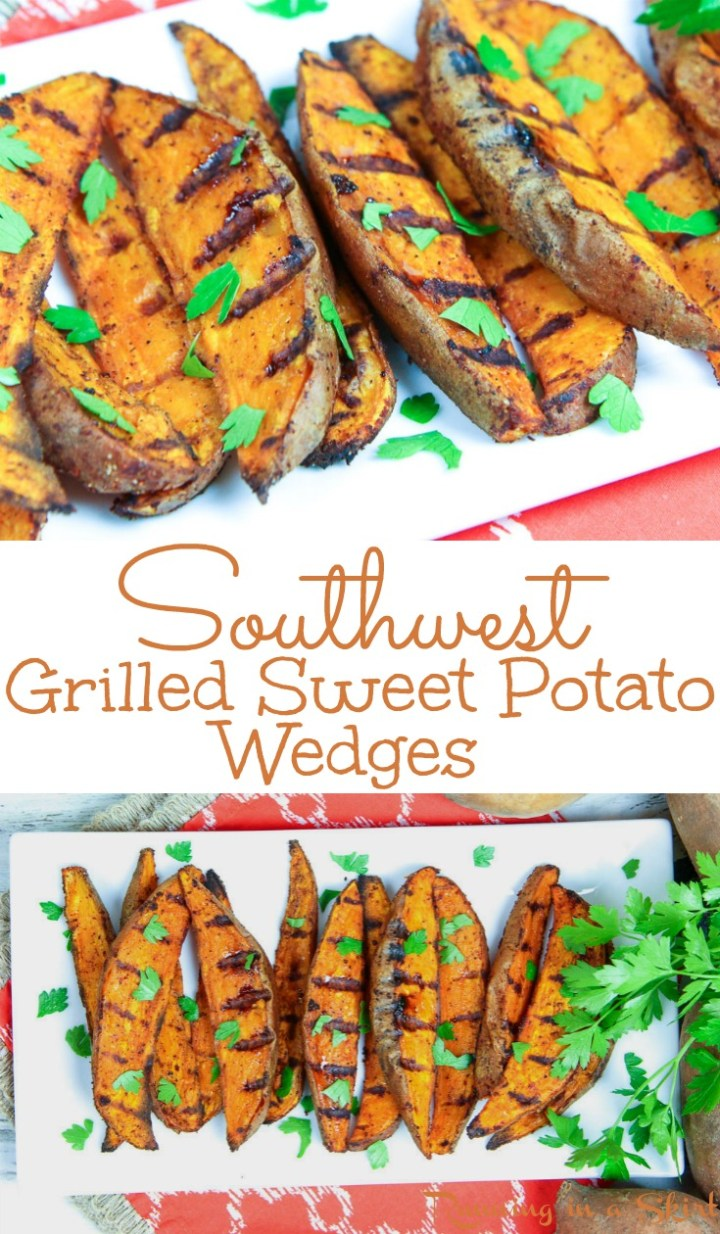 Healthy Southwest Grilled Sweet Potato Wedges with Cilantro recipe - the best easy vegan and dairy free grilling recipe!  Simple and made with olive oils and chipotle.  The recipe includes options for dipping sauces.  / Running in a Skirt via @juliewunder
