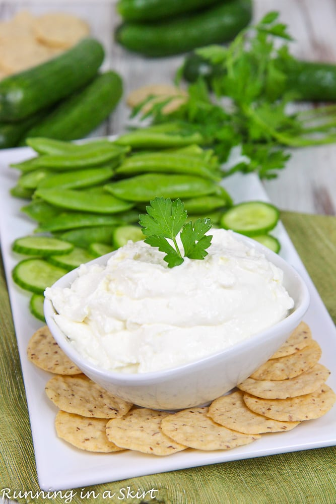 5 Ingredient Lemon Garlic Whipped Feta with Greek Yogurt recipe