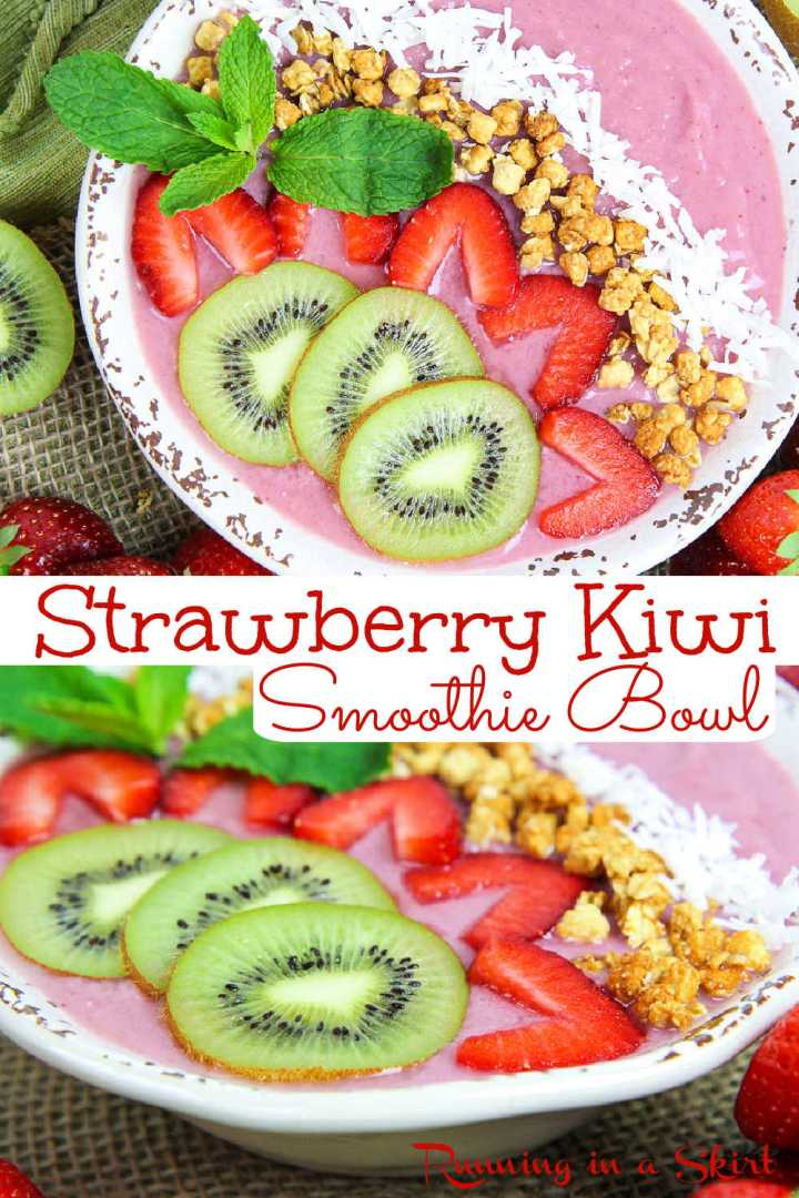 Strawberry Kiwi Smoothie Bowl recipe - A Healthy Strawberry Smoothie Bowl recipe with strawberry, kiwi, banana and protein powder. Great clean eating smoothie bowls recipe for breakfast or a healthy snack. Easy, simple and topped with granola and coconut. You will love this thick smoothie bowl recipe with kiwi - only 5 ingredients! Vegan, Vegetarian, Gluten Free, Dair-Free / Running in a Skirt #vegan #smoothiebowl #vegetarian #cleaneating #healthyliving #smoothie #glutenfree via @juliewunder