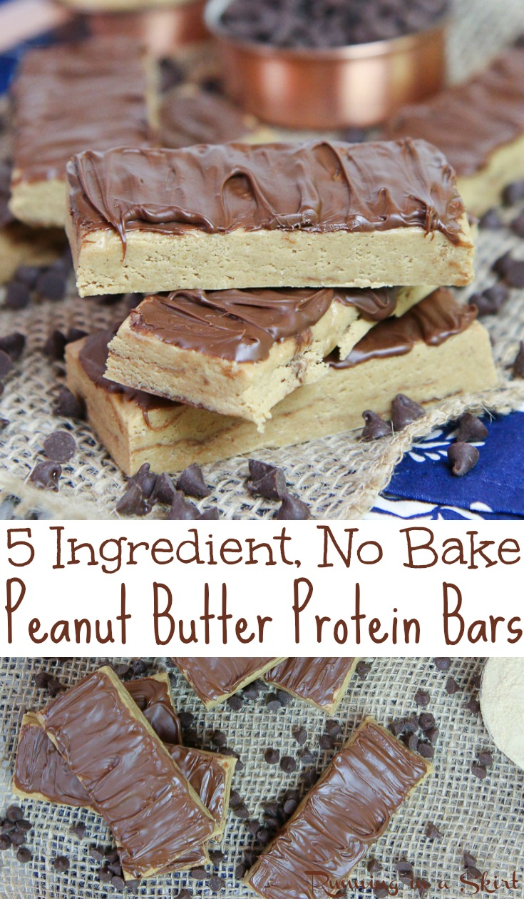 Healthy & Homemade No Bake Peanut Butter Protein Bars recipe - Only 5 Ingredients! These easy, low carb, clean eating and simple bars are made with oatmeal, peanut butter, honey, and @PremierProtein Vanilla Protein Powder and topped with chocolate. No refined sugar. Great for breakfast or a fit snack. Vegetarian and gluten free. / Running in a Skirt AD #healthy #protein #baking #nobake #vegetarian #glutenfree #peanutbutter #sweets #fitness via @juliewunder